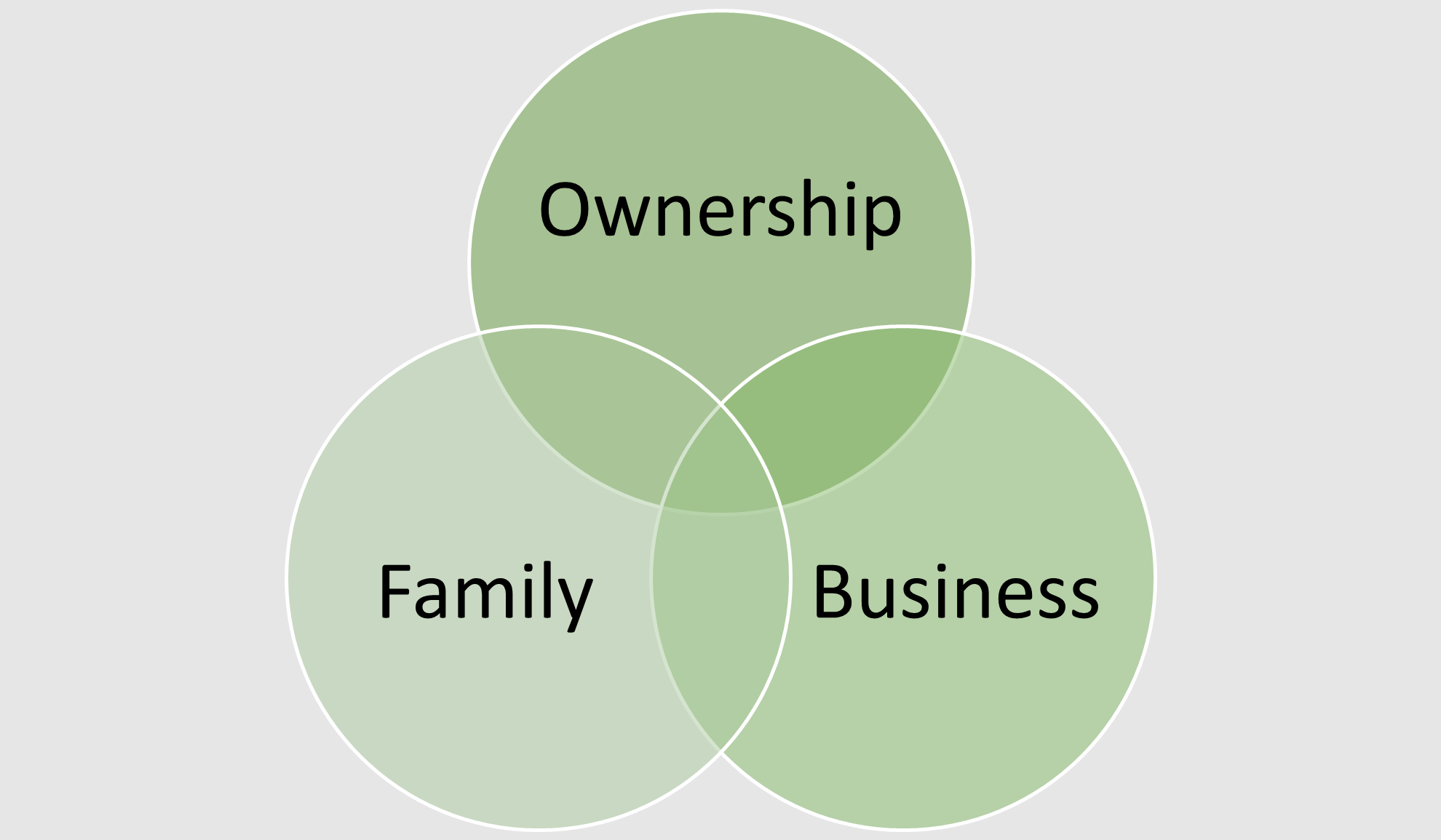 Venn diagram of three family business silos including ownership, family and business